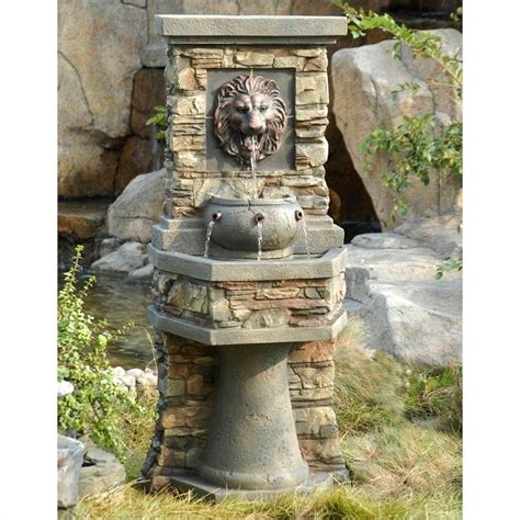 jeco lion head outdoor indoor water fountain fcl013