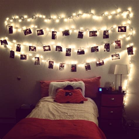 hang lights and pictures with clothes pins this