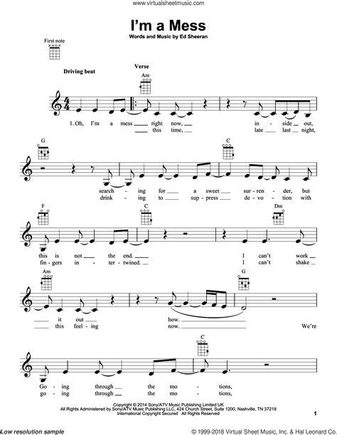 download mp3 ed sheeran i m a mess sheeran i m a mess sheet music for ukulele