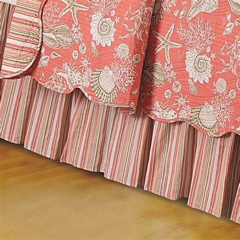 coral bed skirt natural shells bed skirt in coral bed bath beyond