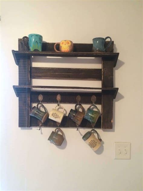 Diy Wall Bed Pallet Coffee Cup Holder 1001 Pallets