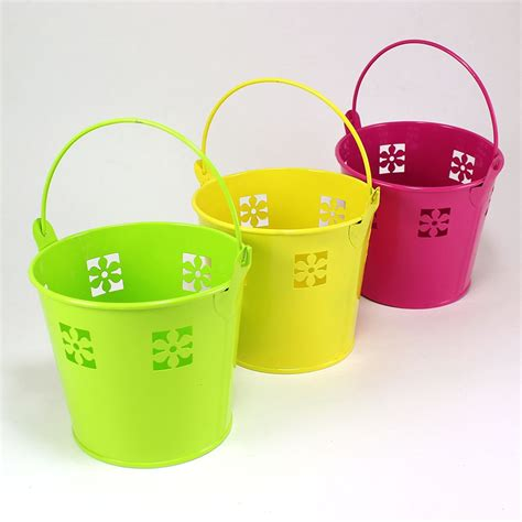 colored metal buckets maple craft colored tin buckets flower design 4
