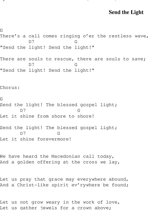 Send The Light Lyrics by Send The Light Christian Gospel Song Lyrics And Chords