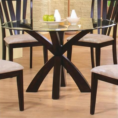 Glass Top Pedestal Dining Room Tables by Coaster Shoemaker Crossing Pedestal Dining Table With Glass Top In Cappuccino 101071 Cb48rd