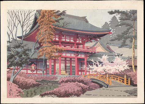 浅野竹二 temple in spring 1 ohmi gallery 浮世絵検索
