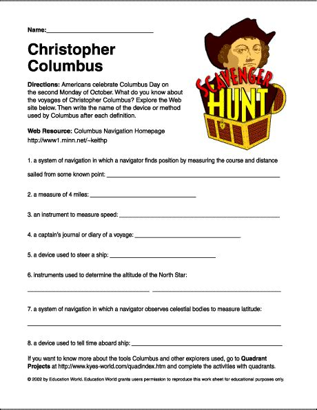christopher columbus printable biography internet scavenger hunt quot christopher columbus quot worksheet