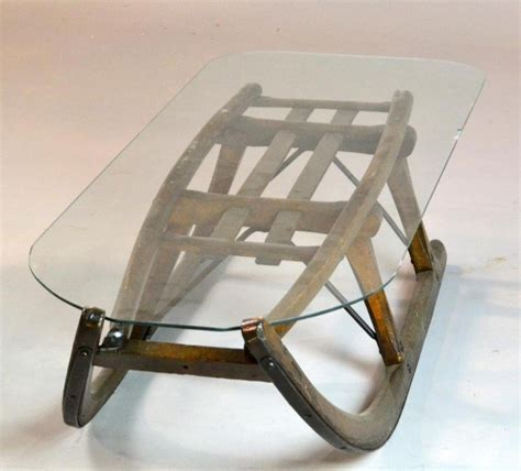 242 antique sled glass top coffee table lot 242
