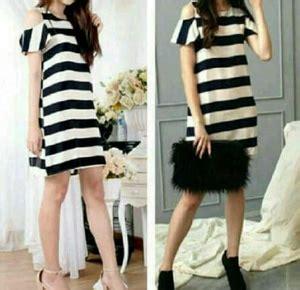 Dres Mini Salur baju mini dress pendek wanita bahu bolong motif salur