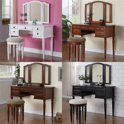Cherry Makeup Vanity by 3pc Tri Mirror 5 Drawer White Black Cherry Walnut Make Up