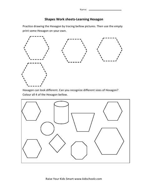 hexagon pattern worksheet learning hexagon shapes worksheet