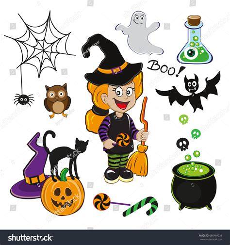 set icons witch stock vector 688469038