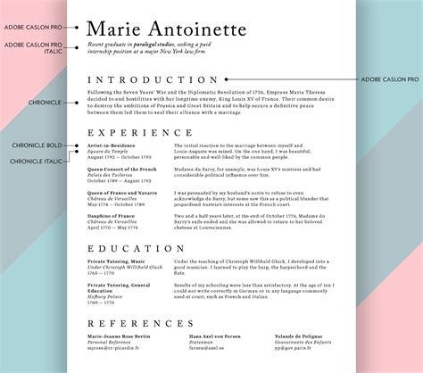 doc serif fonts in resumes