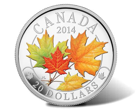 colored coins 2014 majestic maple leaves silver coins with color and