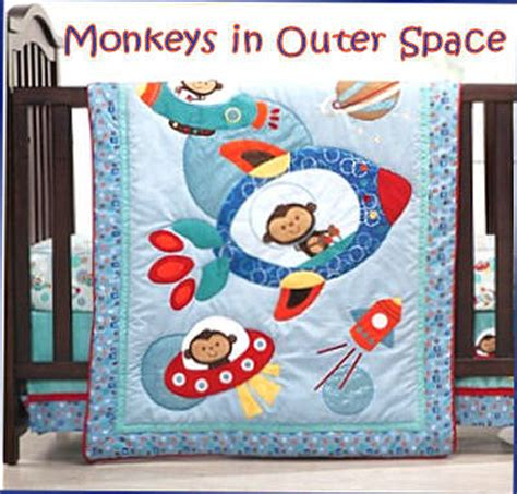outer space crib bedding monkeys in outer space themed baby nursery ideas planets and rocket ships