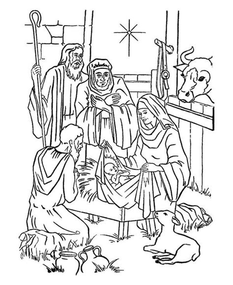 coloring pages of the nativity story adorations of shepherds bible christmas story coloring