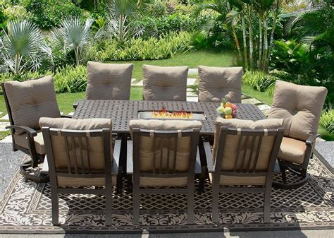 Barbados cushion 42x84 rectangle outdoor patio 9pc dining set for 8 person with rectangle fire