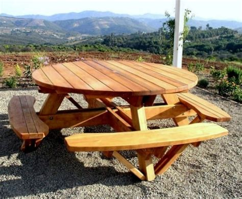 round picnic table with attached benches round wooden picnic table with attached benches