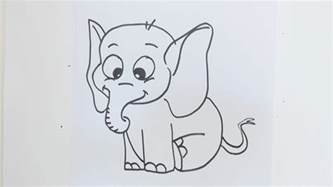 how to draw simple cartoon elephant youtube
