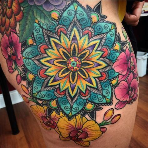 mandala tattoo with colour finished mandala orchids tattoo super pleased with the
