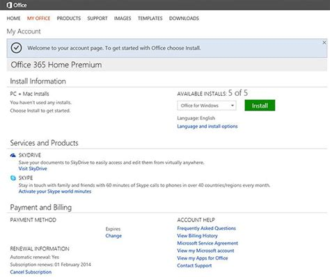 Office 365 Install Installing Office 365 Home Premium Subscribing
