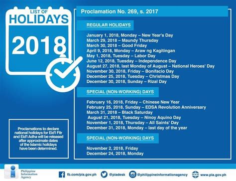 Calendar 2018 List Of Holidays Nine Weekends List Of Holidays For 2018 According