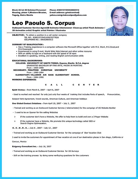 resume format for call center impressing the recruiters with flawless call center resume
