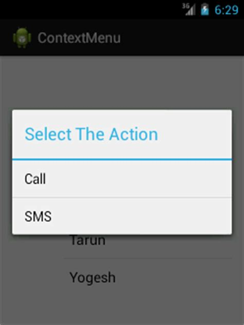 android layout context menu android context menu exle javatpoint