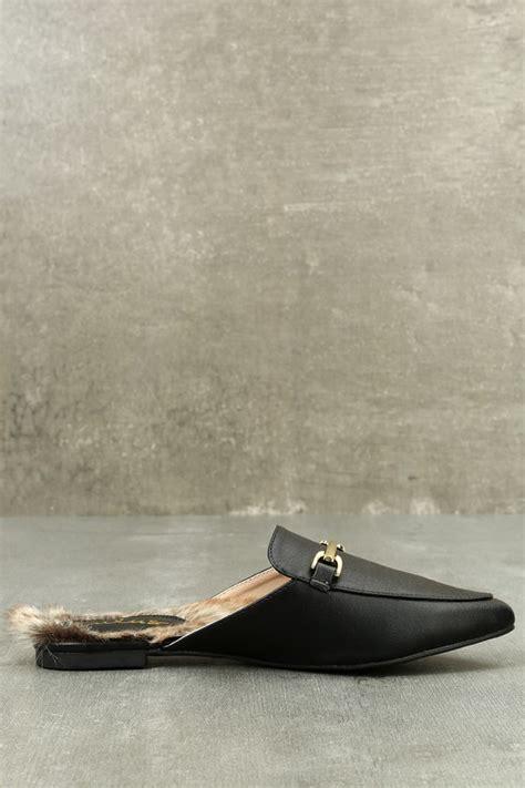Faux Fur Loafers chic black loafer slides faux fur loafers slip on loafers