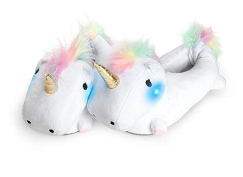 light up unicorn slippers unicorn light up slippers thinkgeek
