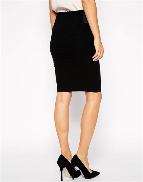 asos asos high waisted pencil skirt with elastic sides