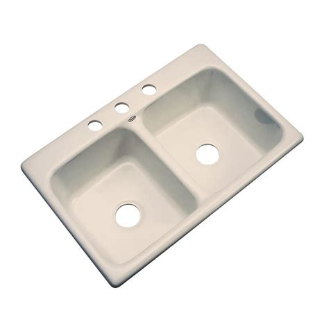 home depot kitchen sinks drop in thermocast newport drop in acrylic 33x22x9 4 hole double