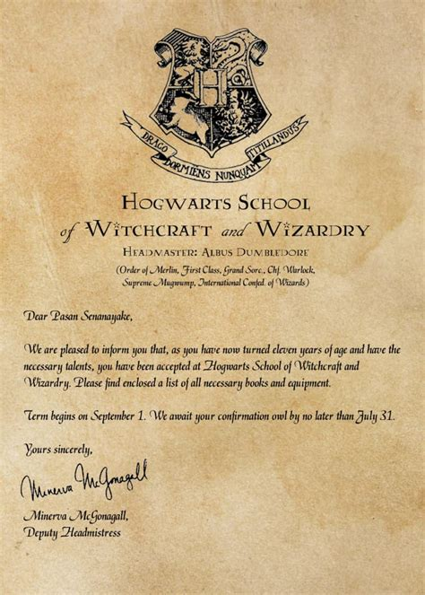 What Does Harry Potter S Acceptance Letter Look Like Create Personalized Hogwarts Acceptance Letter By Pasansenanayake