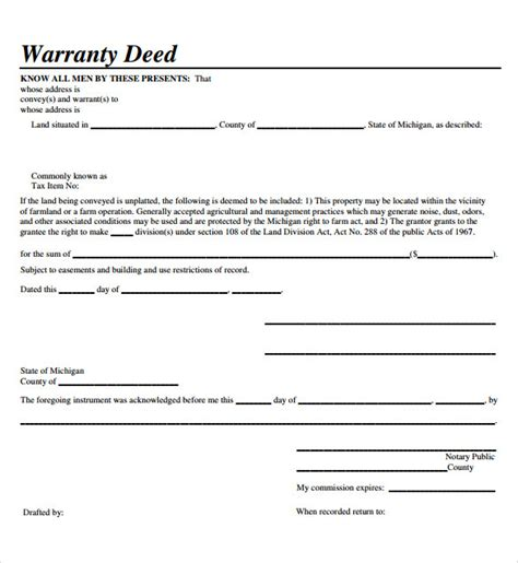 10 Warranty Deed Form Templates Sle Templates Michigan Warranty Deed Template