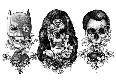 batman superman and wonder woman tattoo style art sci
