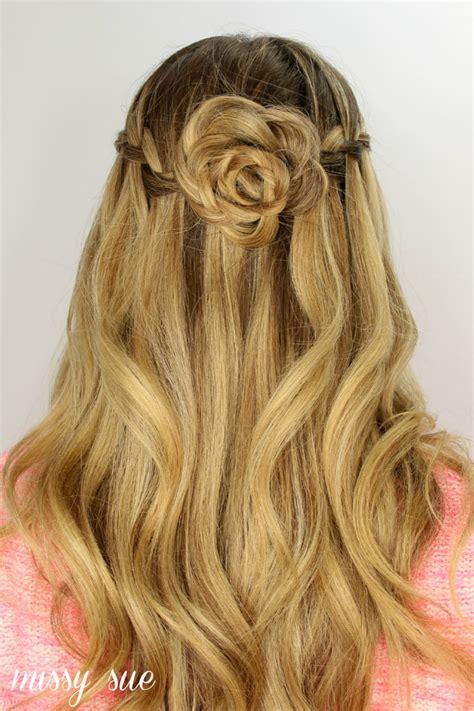 Waterfall braid and flower bun