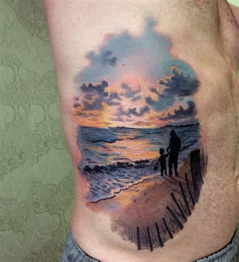 beach sunset tattoo 90 sunset tattoos for fading daylight sky designs