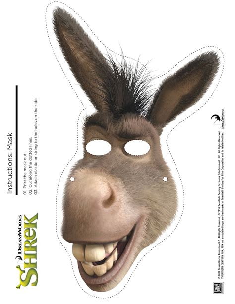 printable animal masks donkey shrek photo booth props print the free printable shrek