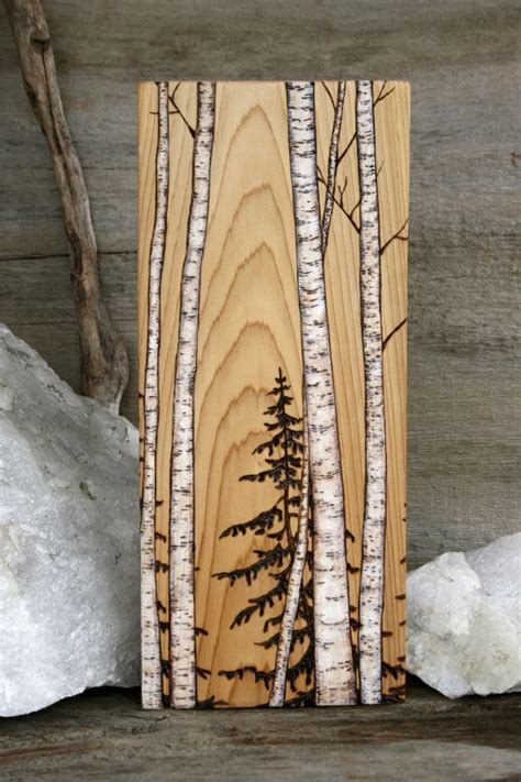 tree painted on wood ideas birch trees block wood burning pine grains and trees