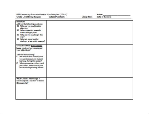 lesson plan template elementary sle elementary lesson plan 8 documents in pdf