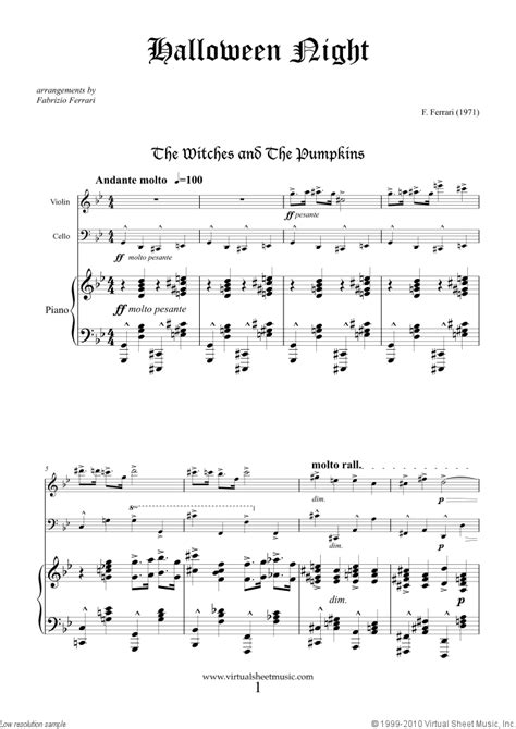 creepy violin music halloween sheet music for violin cello and piano