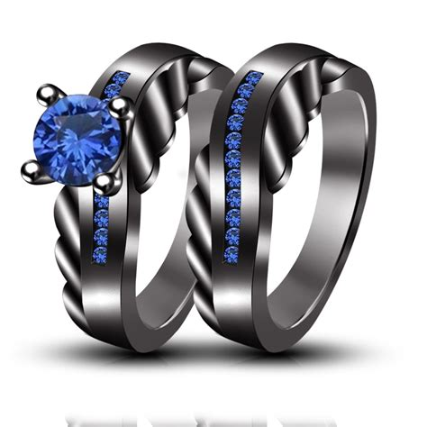 wedding engagement rings set blue sapphire black