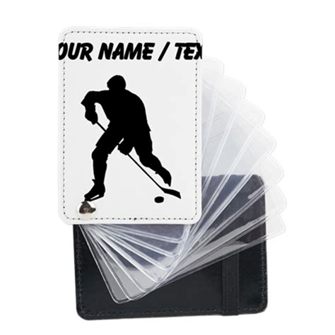 hockey wallet card template custom hockey player silhouette leather card holde by