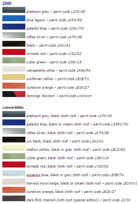 paint colors   years newbeetleorg forums