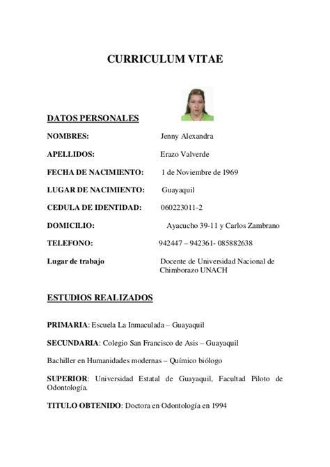 Modelo Curriculum Vitae Higienista Dental hoja de vida dra erazo