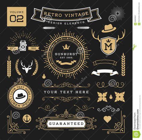 vintage classic design label elements set of retro vintage graphic design elements stock photo