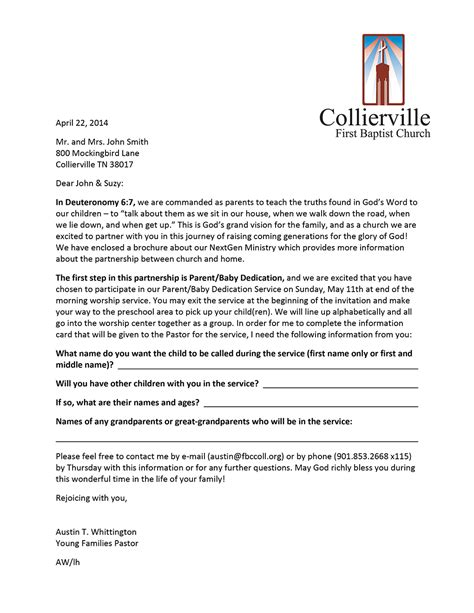 Parent Letter From Youth Pastor Family Ministry Sles