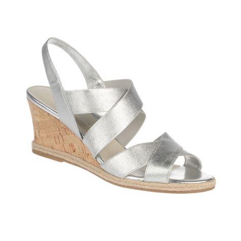 aigner sandals etienne aigner wedge sandals in silver lyst