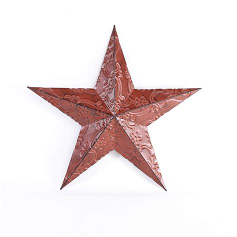 star home decor red metal embossed barn star wall decor home decor