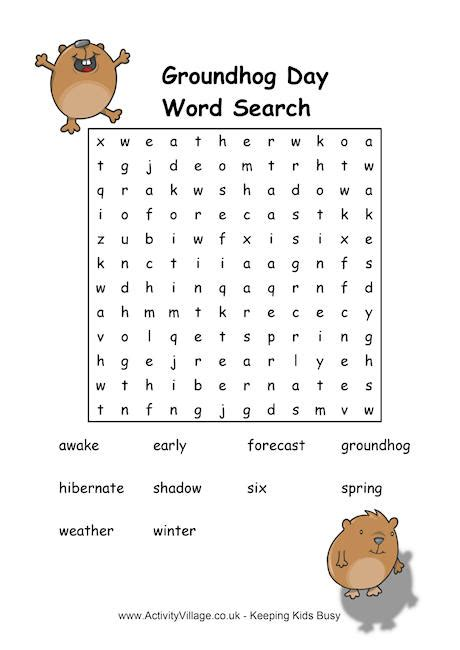 printable word search groundhog day groundhog day wordsearch