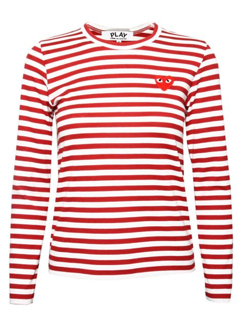 Cdg Stripe Dress comme des gar 231 ons play womens stripe t shirt in lyst